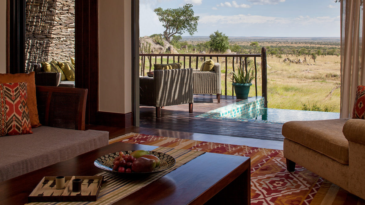 hotels in heaven four seasons safari lodge serengeti location accomodation wild life sofa lounger cushions trees savannah