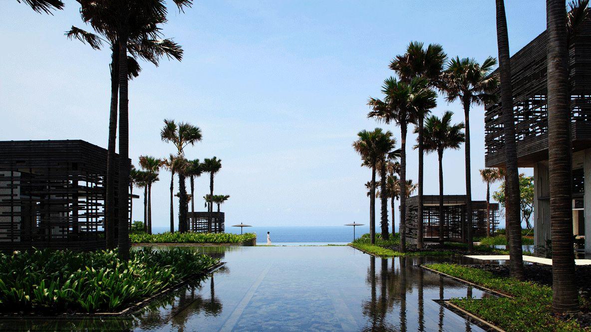 palm trees ocean-alila villas uluwatu bali