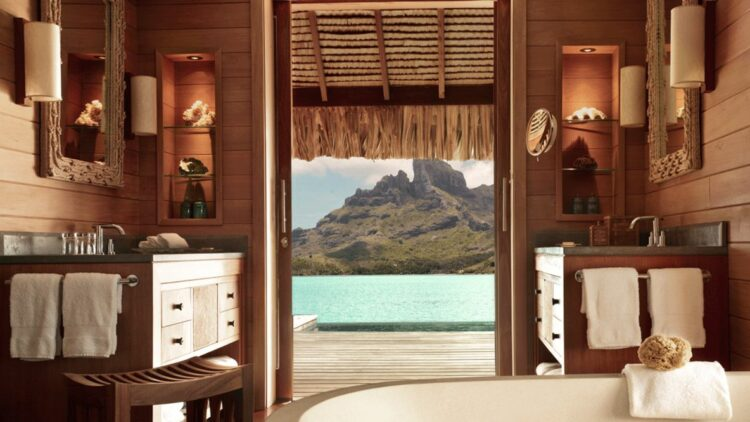 hotels in heaven four seasons bora bora room tub view mountains ocean bath sink wooden terrace mirror lamps