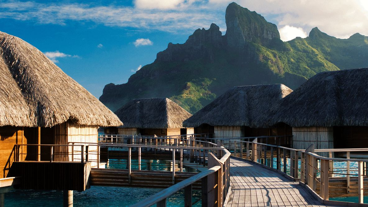 pedestrian bridge-four seasons resort bora bora