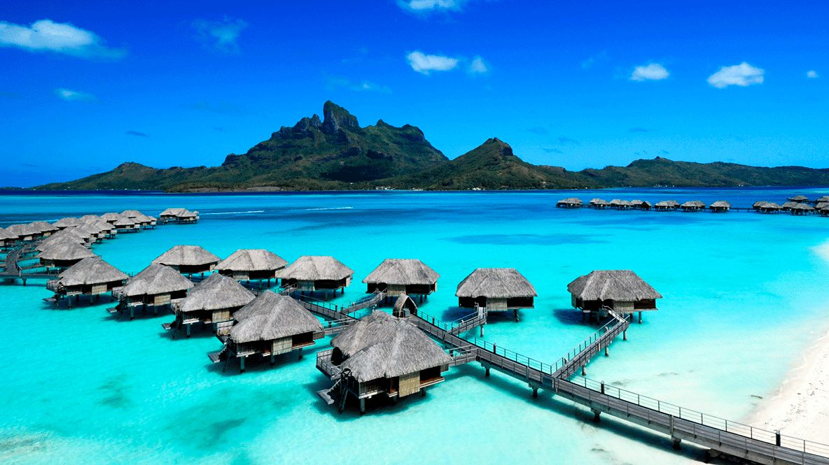 hotels in heaven four seasons bora bora view accommodation mountains view birdeye footbridge caves shacks ocean