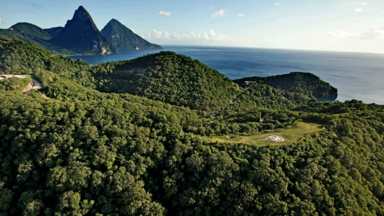 hotels in heaven jade mountain view island location helicopter landing space ocean hidden paths wide extract