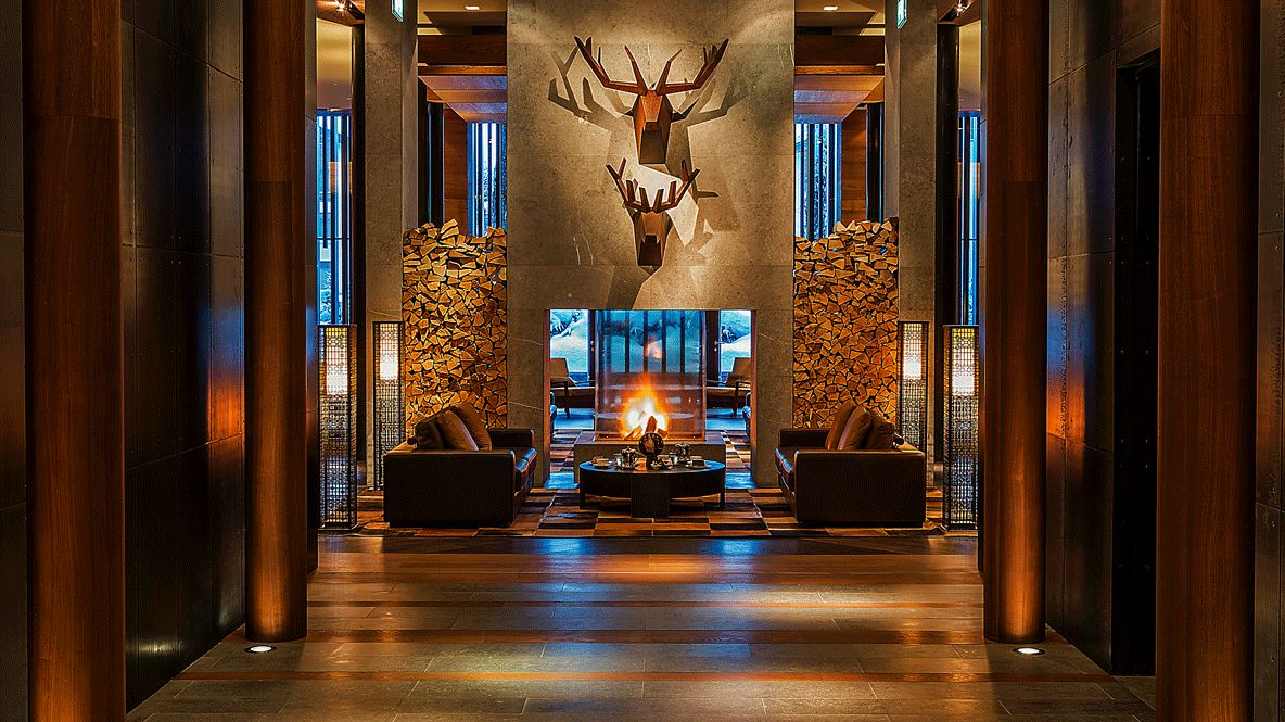 fire place hotel lobby-the chedi andermatt switzerland