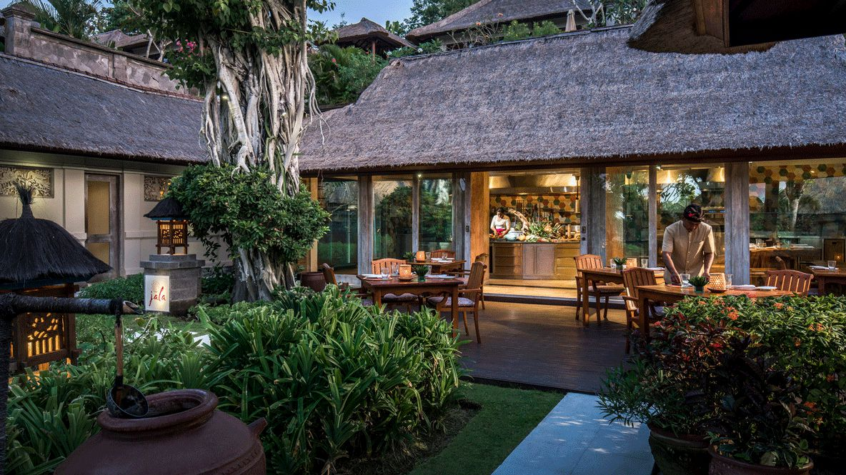 hotels in heaven four seasons resort bali culinary chef restaurant plants outside beautiful thatched roof