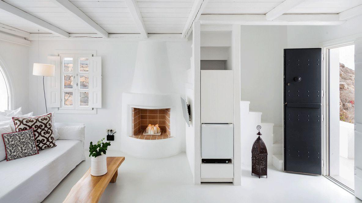 indoor fire place-aenaon villas greece