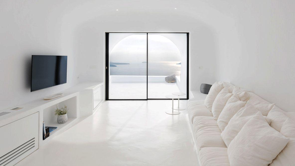 living room area-aenaon villas greece