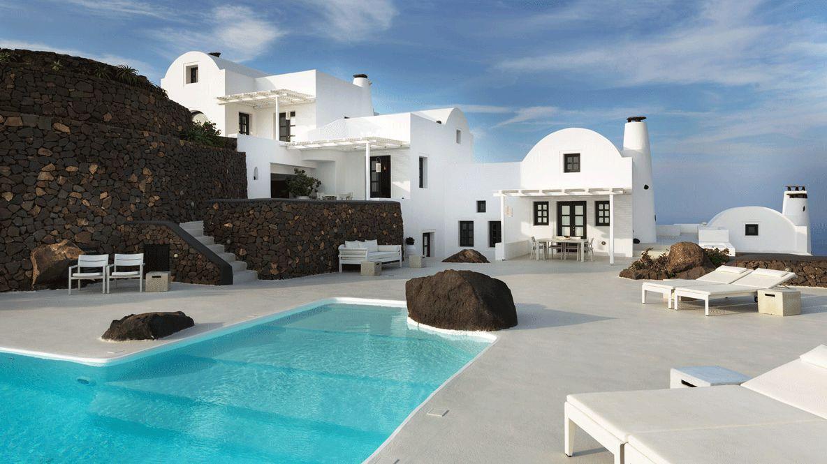 pool area-aenaon villas greece