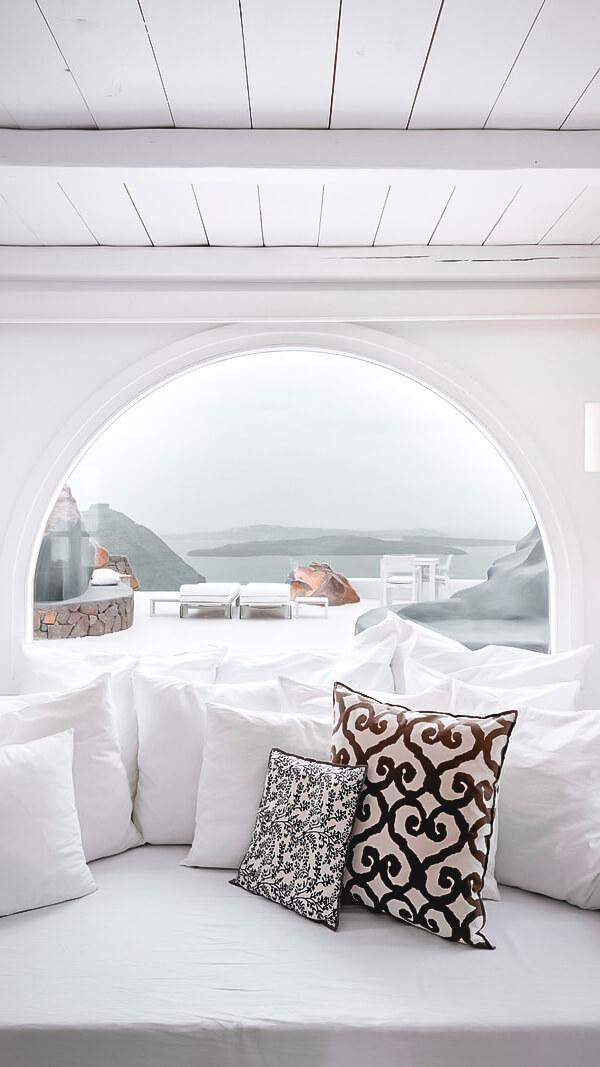 living room ocean view-aenaon villas greece