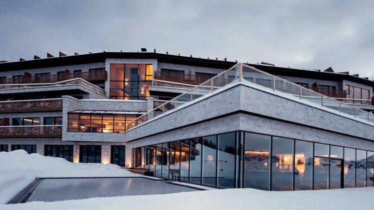 facade hotel pool-alpina dolomites lodge italy
