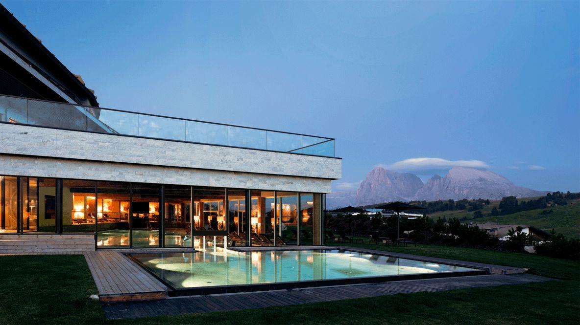 heated outdoor pool-alpina dolomites lodge italy