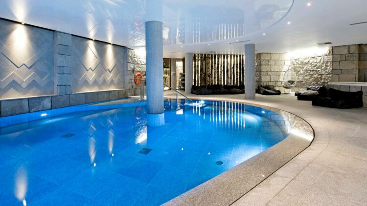hotels in heaven altapura val thores pool spa water blue columns loungers lifebelt ceramic tiles