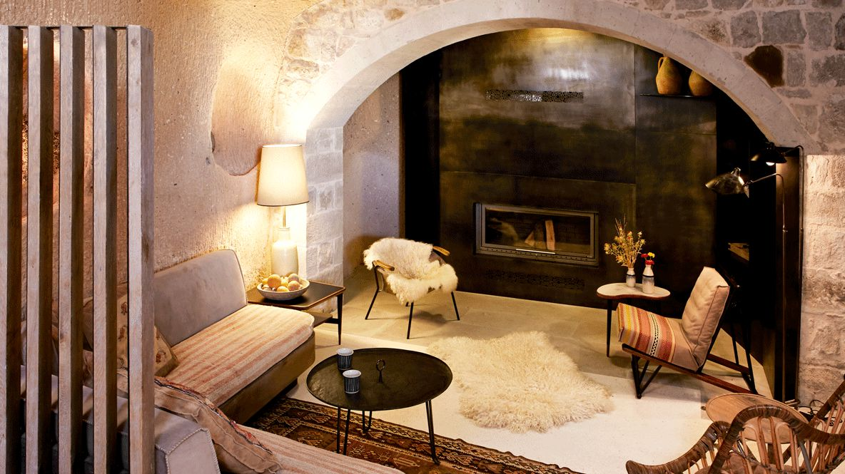 living room with fire place-argos in cappadocia