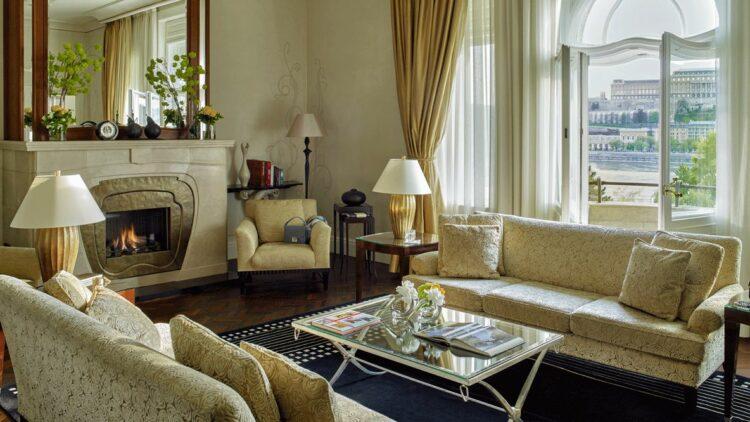 living room view-four seasons hotel gresham palace budapest