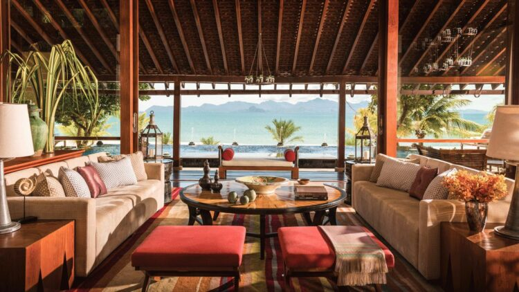 hotels in heaven four seasons langkawi culinary oceanview sofas beach red cushions chairs mountains background