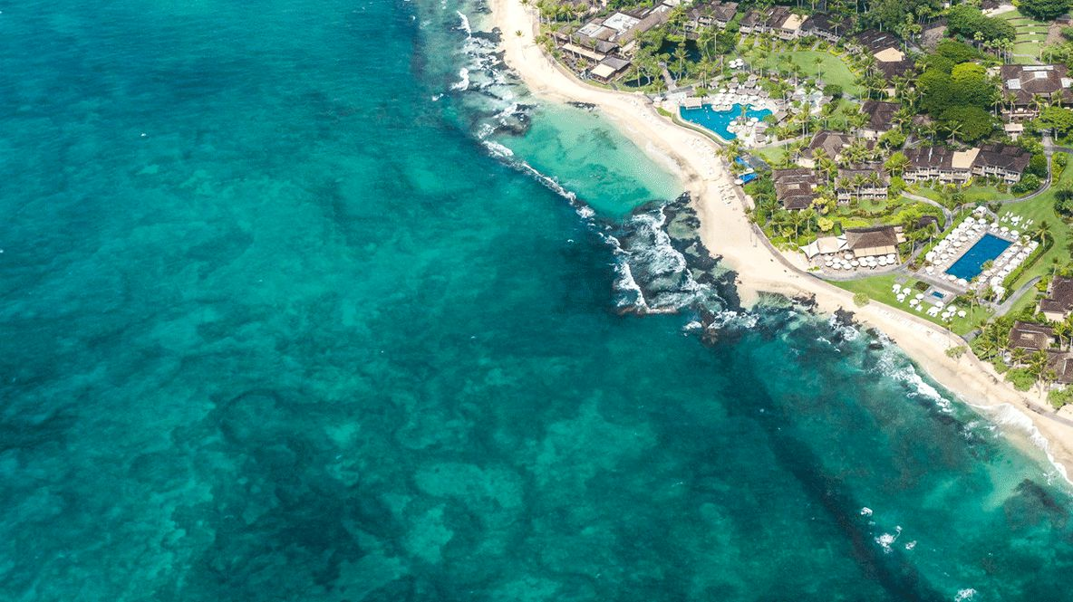 drone picture beach hotel-four seasons resort hualalai hawaii