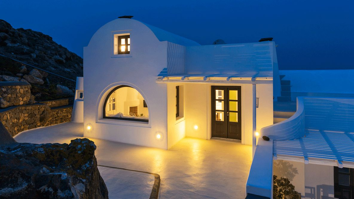 hotels in heaven aenaon villas outdoor villa evening lights white house