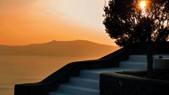 hotels in heaven aenaon villas stairs sunset view oceanview stairs tree sunset sun mountain sea lake orange sky