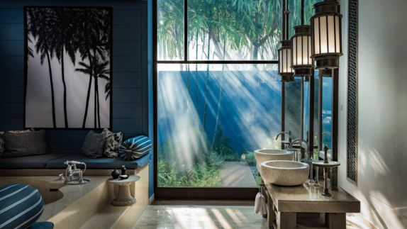 hotels in heaven four seasons langkawi bathroom luxury bathtub sinks tabs sofa cushions area big window palm trees