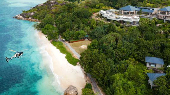 hotels in heaven raffles seychelles drone location beach helicopter ocean sea forest plants houses villa nature