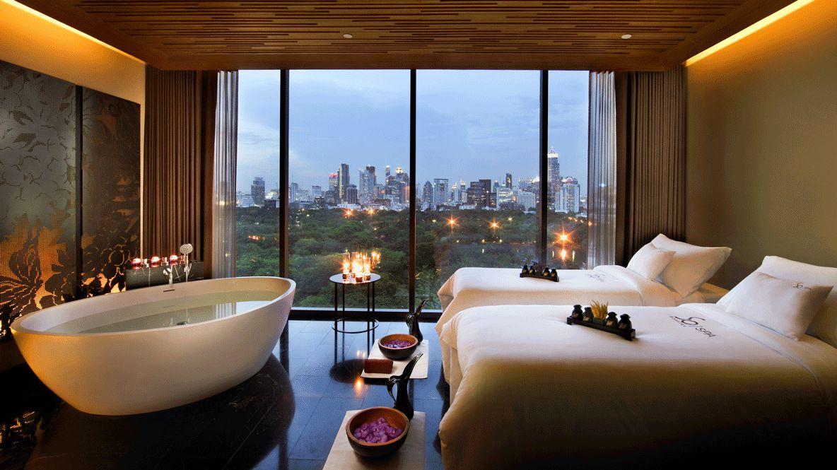 hotels in heaven sofitel bangkok bedroom view bathtub luxury