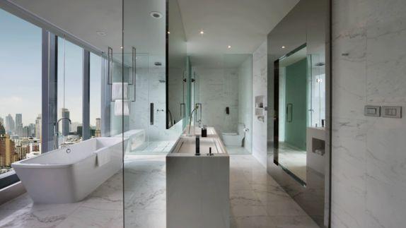 hotels in heaven sofitel bangkok room bathroom bathtub modern white marmor glas view