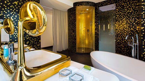 hotels in heaven w bogota bathroom shower golden shower bath tub soap sink luxury glass beautiful black white