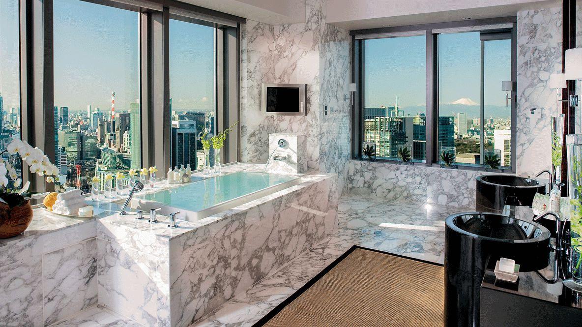 hotels in heaven mandarin oriental tokyo suite presidential suite bathroom marble tiles little television bathtub