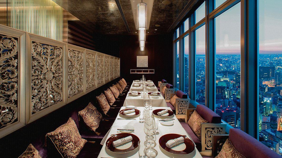 restaurant view skyline-mandarin oriental tokyo