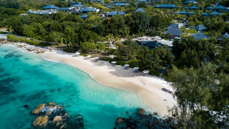 hotels in heaven raffles seychelles drone location ocean beach forest plants nature