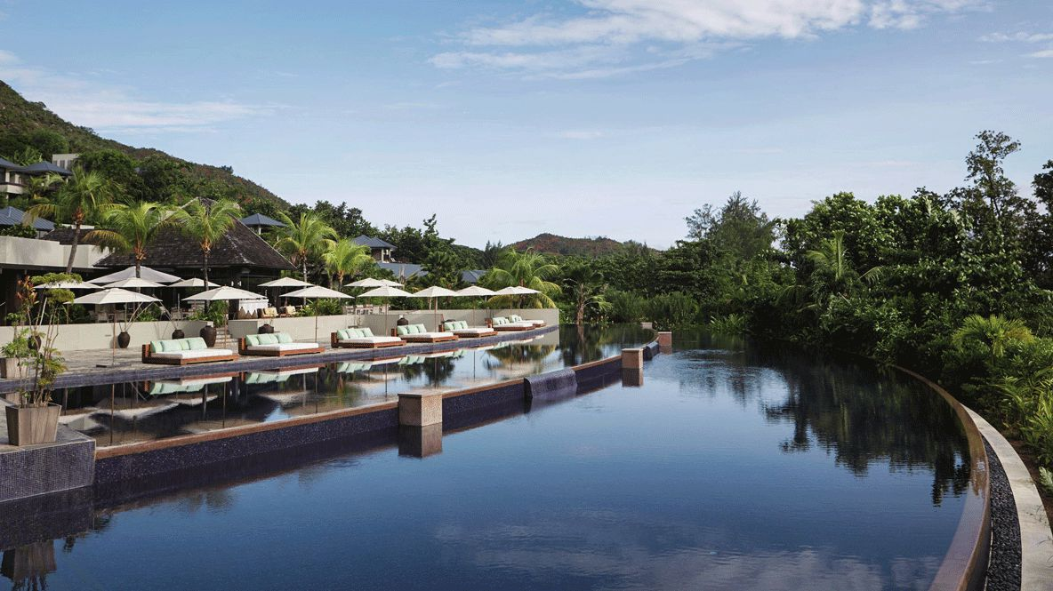 hotel pool view-raffles seychelles