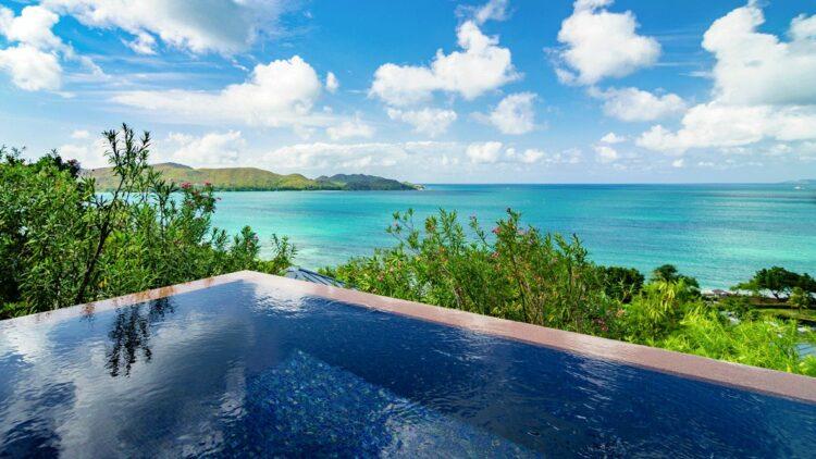 hotels in heaven raffles seychelles pool view ocean dream plants horizone sky sun