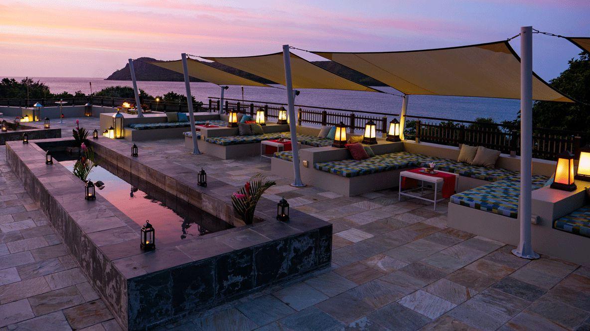 terrace pool sun beds-raffles seychelles