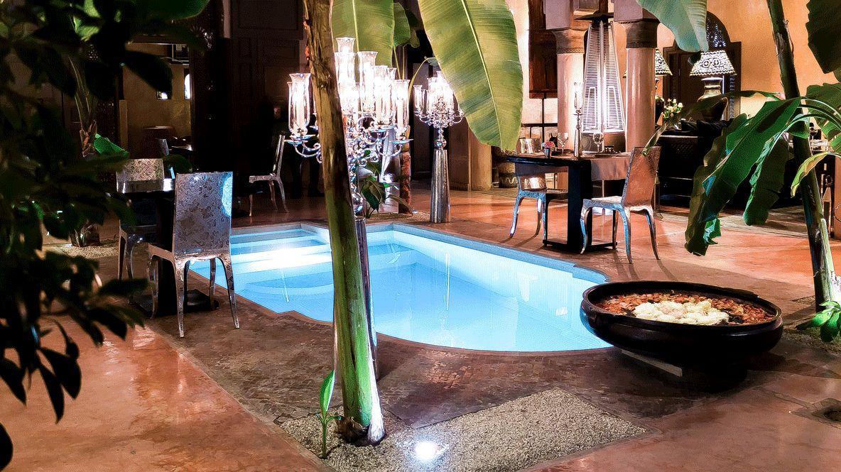 backyard pool by night-riad noir d'ivoire marrakech
