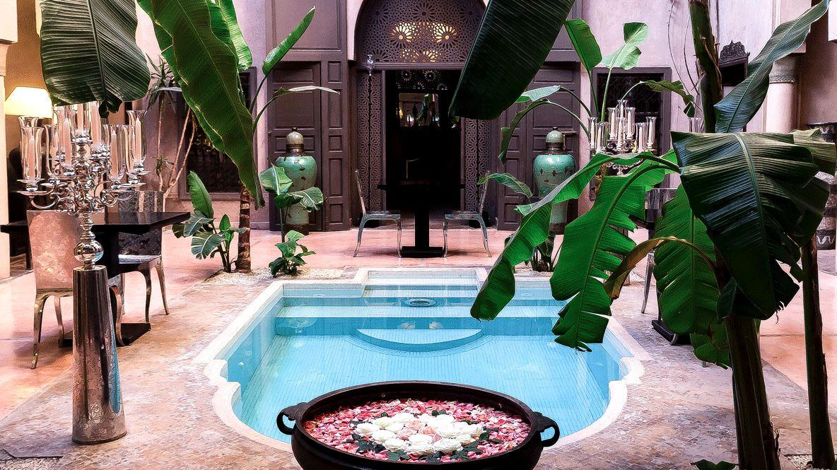 pool view backyard-riad noir d'ivoire marrakech