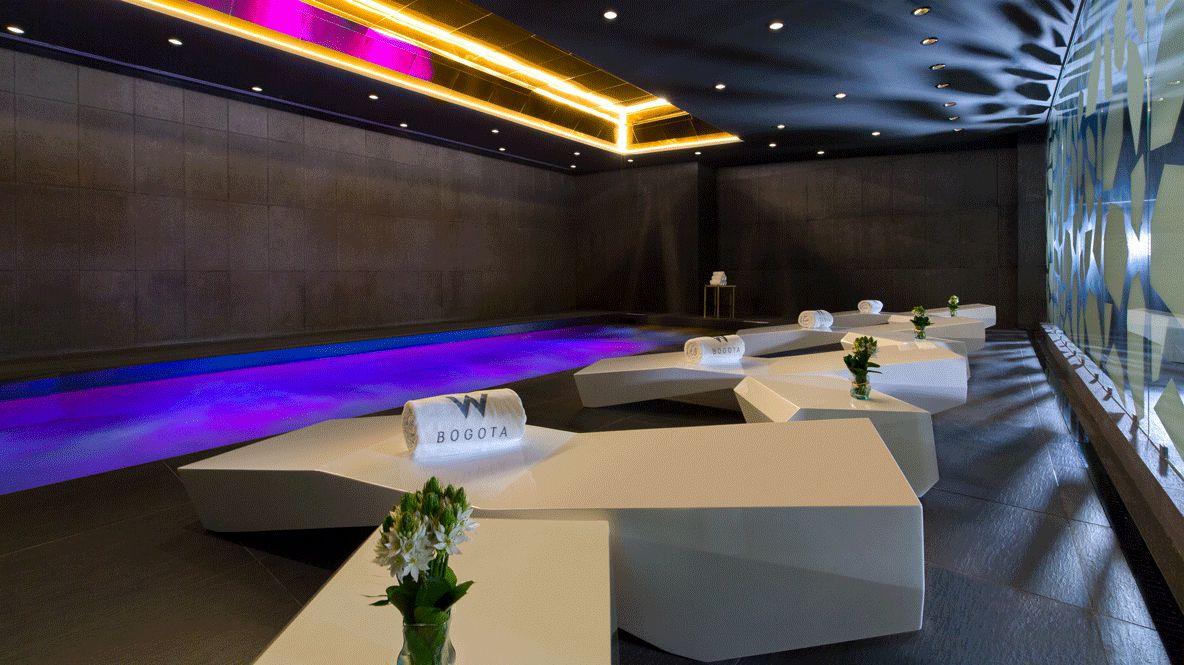 hotels in heaven w bogota pool indoor spa inside towel flower luxury colorful lights amazing