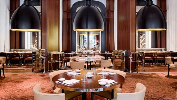 hotels in heaven Royal Monceau Raffles Paris Matsuhisa restaurant culinary big ceiling lamps glasses wooden tables chairs