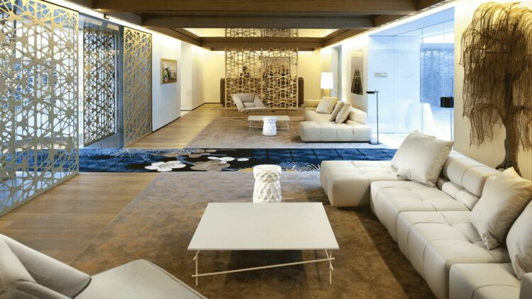 hotels in heaven mandarin oriental barcelona lounge relaxing table sofas cushions leather art doors lamps trees
