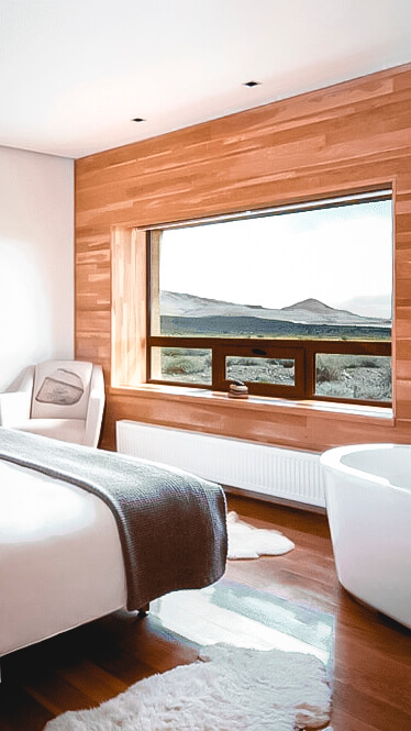 bedroom with bathtub-tierra patagonia chile