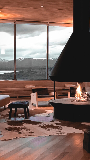 fireplace mountain view-tierra patagonia chile