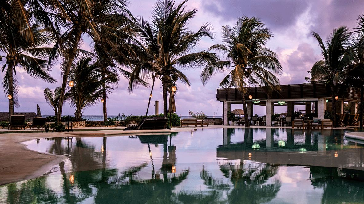 sunset pool view-viceroy riviera maya mexico