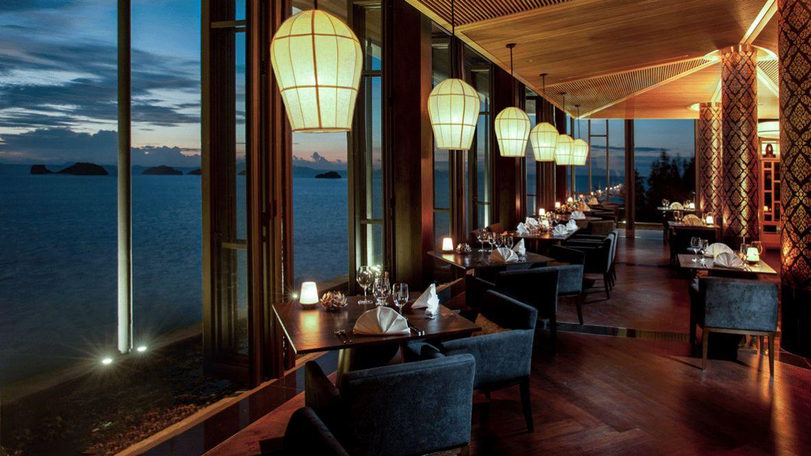 hotels in heaven culinary sea inside koh samui view sea light noble luxury dark dinner lights beautiful gold big windows