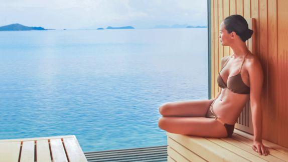 hotels in heaven pool spa sauna model koh samui woman swim wear view sea Thailand body relax hill