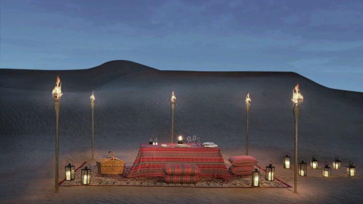 romantic dinner desert uae-al maha desert resort uae