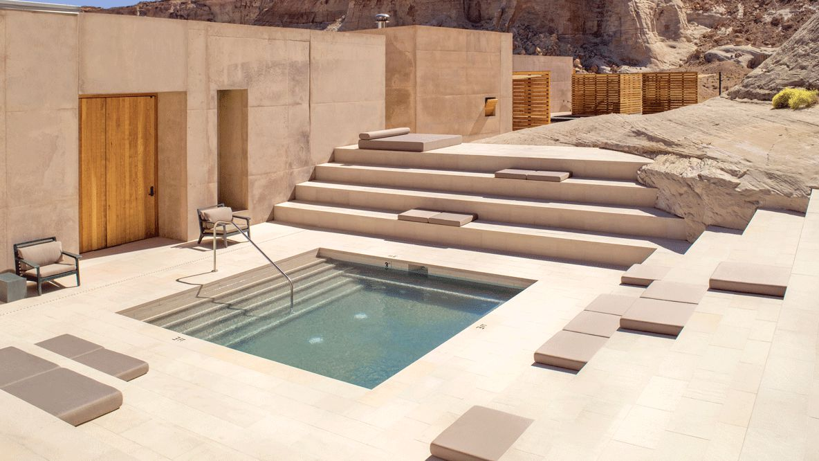 hotels in heaven amangiri utah private pool lodge chair pool stone seat door nature sun surrounding location