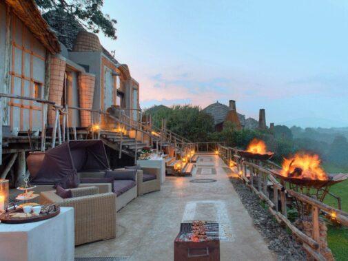terrace fire place-andbeyond ngorongoro crater lodge tanzania
