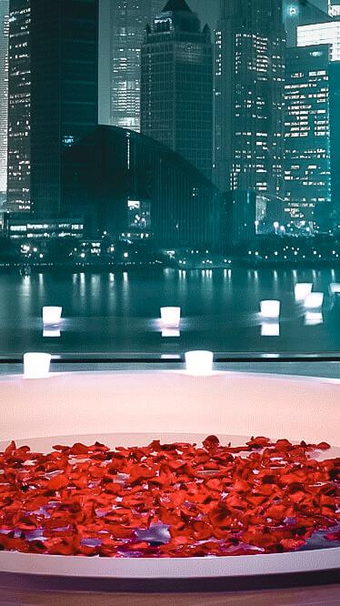 bathtub rose petals-banyan tree shanghai on the bund