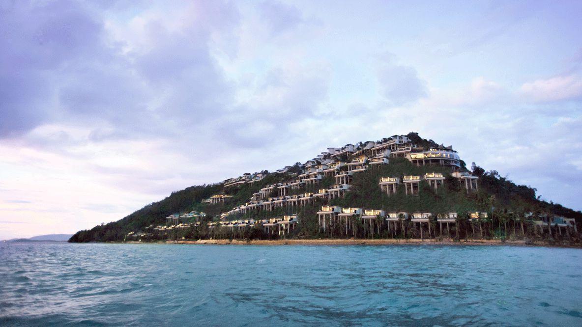 hotels in heaven location private beach sea island tree houses luxury beautiful nature lights Koh Samui Thailand