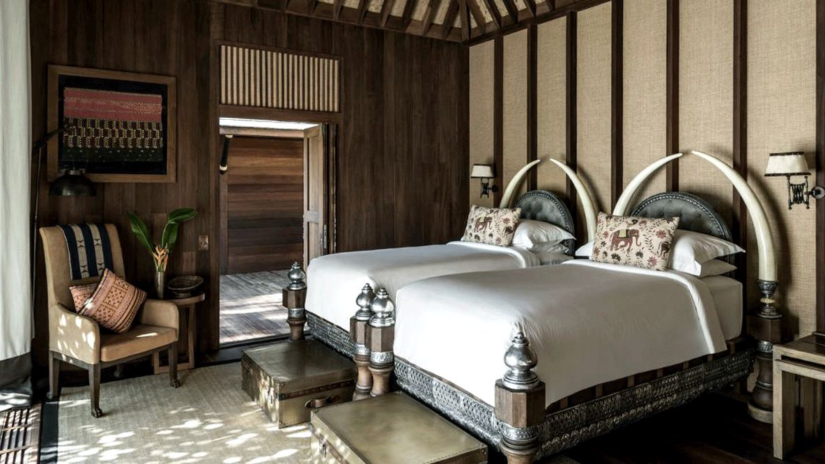 bedroom explorers lodge-four seasons tented camp golden triangle thailand