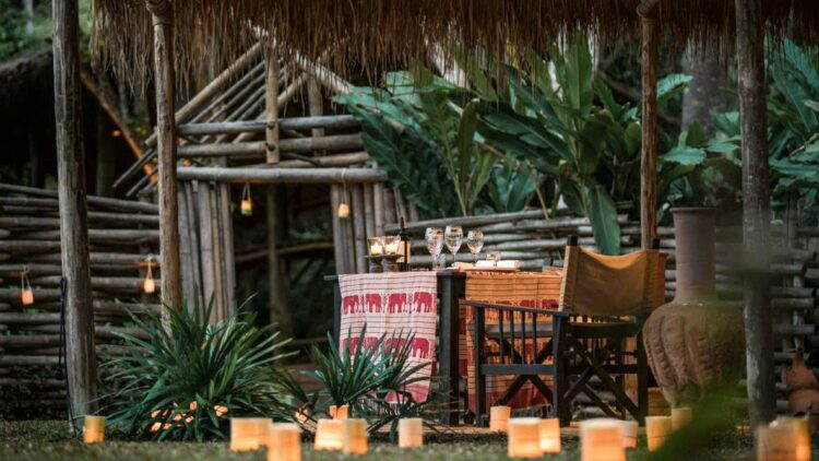 romantic dinner-four seasons tented camp golden triangle thailand