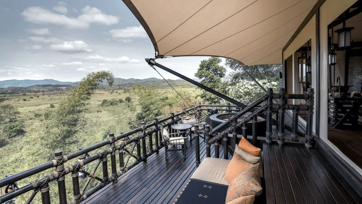 private veranda with jacuzzi-four seasons tented camp golden triangle thailand